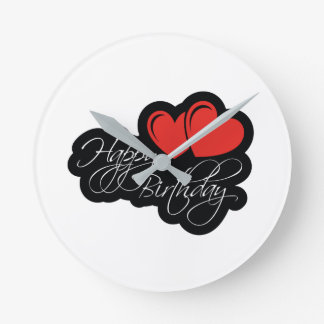 Happy Birthday with two red hearts Wallclocks