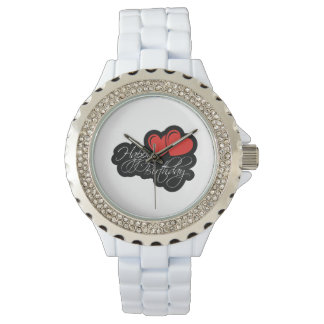 Happy Birthday with two red hearts Watches