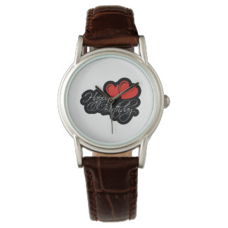 Happy Birthday with two red hearts Wrist Watch