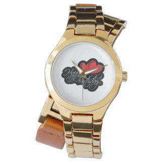 Happy Birthday with two red hearts Wristwatch