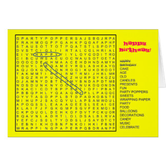 HAPPY BIRTHDAY Word Search Card