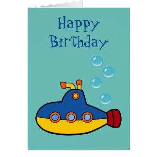 Happy Birthday - Yellow and Blue Toy Submarine Card