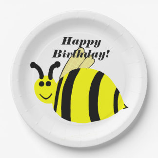 Happy Birthday Yellow Bumble Bee 9 Inch Paper Plate