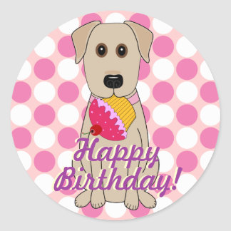 Happy Birthday Yellow Labrador Stickers