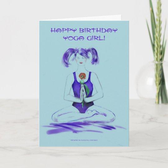 Happy Birthday Yoga Girl Card