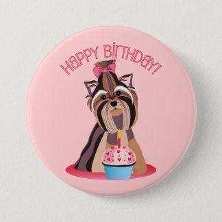 Happy Birthday Yorkie 3 Inch Round Button