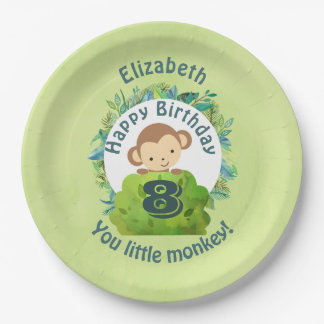 Happy Birthday You Little Monkey Personalized 9 Inch Paper Plate