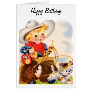 Happy Birthday - Young Cowboy Greeting Card