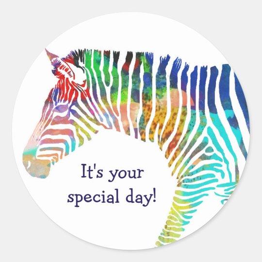 Happy Birthday Zebra Sticker