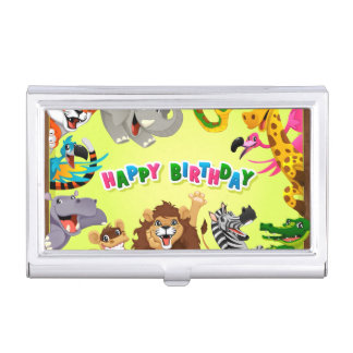 Happy birthday zoo animals business card holder