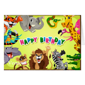 Happy birthday zoo animals card