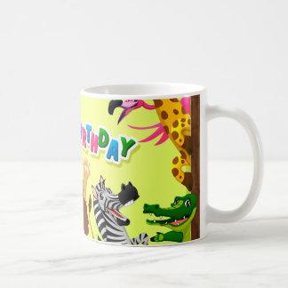 Happy birthday zoo animals coffee mug