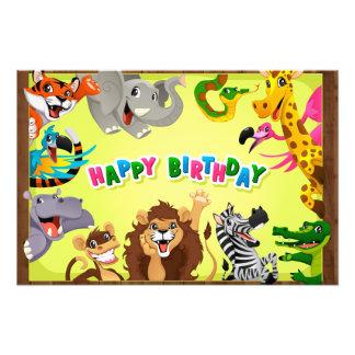 Happy birthday zoo animals photographic print