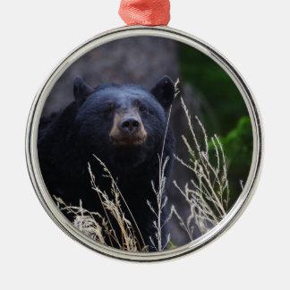 happy black bear metal ornament