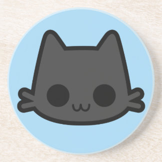 Happy Black Cat Face on Blue Drink Coasters