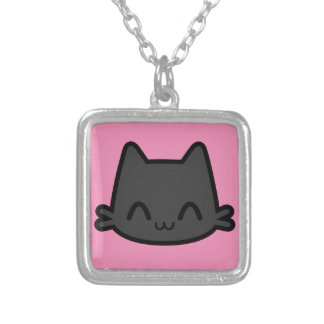 Happy Black Cat Face on Pink Jewelry