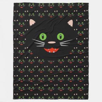 Happy Black Cat Fleece Blanket