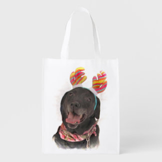 Happy Black Labrador Retriever Dog Reusable Grocery Bag