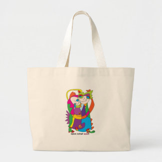 happy blessed couple colorful naive art design noa large tote bag