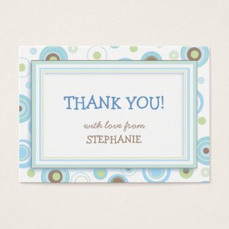 Happy Blue Dots Shower Favor Tag Card