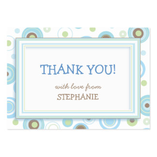 Happy Blue Dots Shower Favor Tag Card Large Business Card