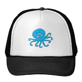 happy blue octopus trucker hat