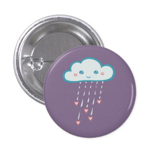 Happy Blue Rain Cloud Raining Pink Hearts 1 Inch Round Button