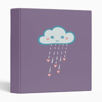 Happy Blue Rain Cloud Raining Pink Hearts 3 Ring Binder