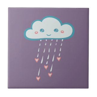 Happy Blue Rain Cloud Raining Pink Hearts Ceramic Tile