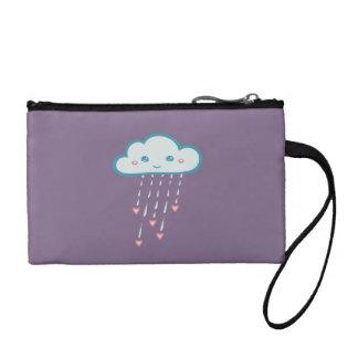 Happy Blue Rain Cloud Raining Pink Hearts Coin Purses