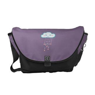 Happy Blue Rain Cloud Raining Pink Hearts Commuter Bag