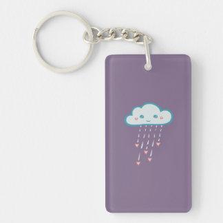 Happy Blue Rain Cloud Raining Pink Hearts Double-Sided Rectangular Acrylic Keychain