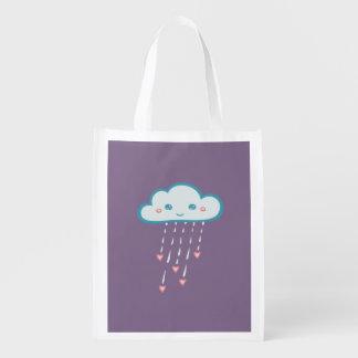 Happy Blue Rain Cloud Raining Pink Hearts Grocery Bag