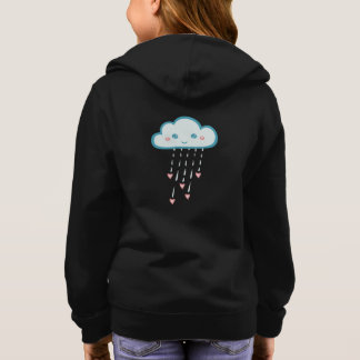 Happy Blue Rain Cloud Raining Pink Hearts Hoodie
