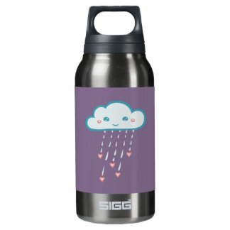 Happy Blue Rain Cloud Raining Pink Hearts Insulated Water Bottle