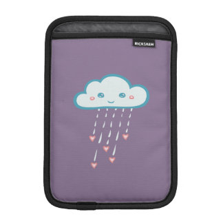 Happy Blue Rain Cloud Raining Pink Hearts iPad Mini Sleeves