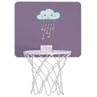 Happy Blue Rain Cloud Raining Pink Hearts Mini Basketball Hoop