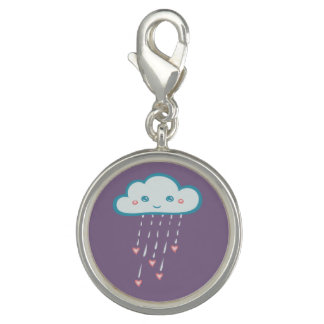 Happy Blue Rain Cloud Raining Pink Hearts Photo Charm