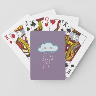 Happy Blue Rain Cloud Raining Pink Hearts Poker Deck