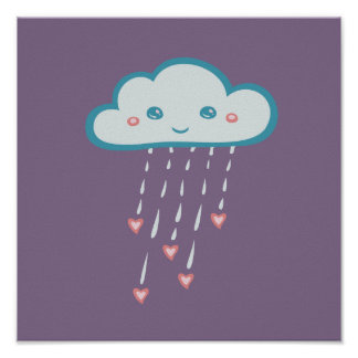 Happy Blue Rain Cloud Raining Pink Hearts Poster
