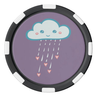 Happy Blue Rain Cloud Raining Pink Hearts Set Of Poker Chips