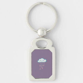 Happy Blue Rain Cloud Raining Pink Hearts Silver-Colored Rectangle Keychain