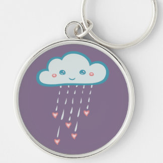 Happy Blue Rain Cloud Raining Pink Hearts Silver-Colored Round Keychain