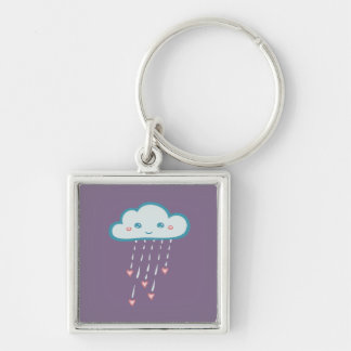 Happy Blue Rain Cloud Raining Pink Hearts Silver-Colored Square Keychain