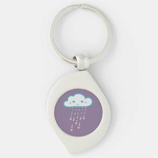 Happy Blue Rain Cloud Raining Pink Hearts Silver-Colored Swirl Keychain