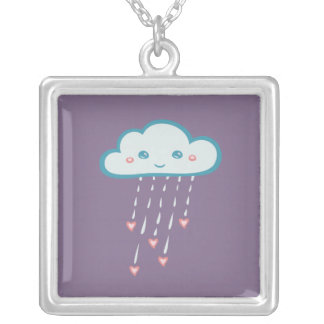Happy Blue Rain Cloud Raining Pink Hearts Silver Plated Necklace