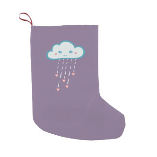 Happy Blue Rain Cloud Raining Pink Hearts Small Christmas Stocking