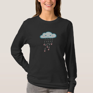 Happy Blue Rain Cloud Raining Pink Hearts T-Shirt