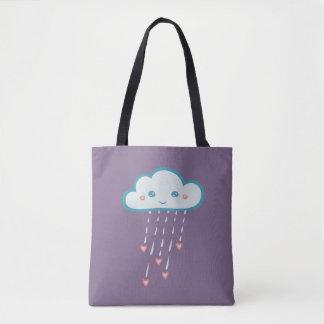 Happy Blue Rain Cloud Raining Pink Hearts Tote Bag