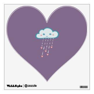 Happy Blue Rain Cloud Raining Pink Hearts Wall Decal